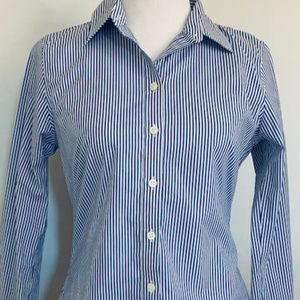 Women's Blue and White Striped Cotton Blend Shirt
